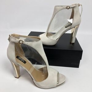 DKNY Womens Colby Ankle Heel Shoes Linen White 10M